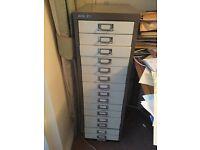 Bisley 15 drawer filing cabinet. Brown/beige no rust kept indoor office