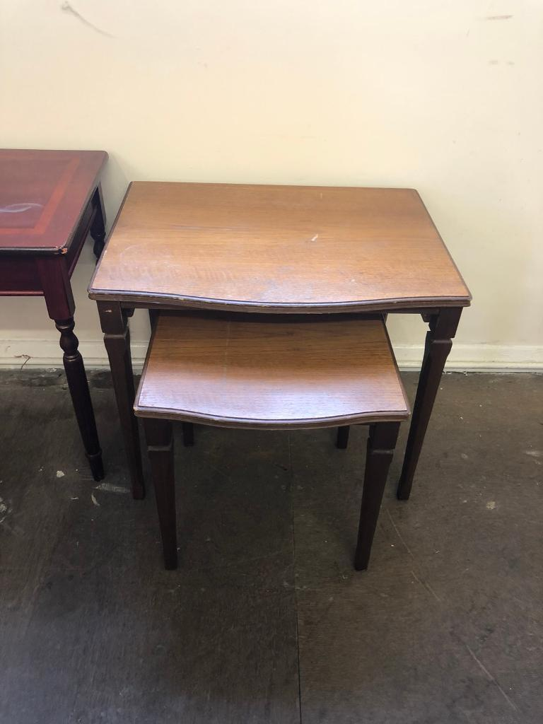 2 nest of wooden tables