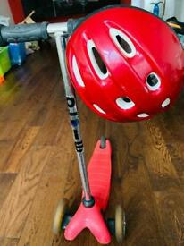 Mini micro scooter with helmet