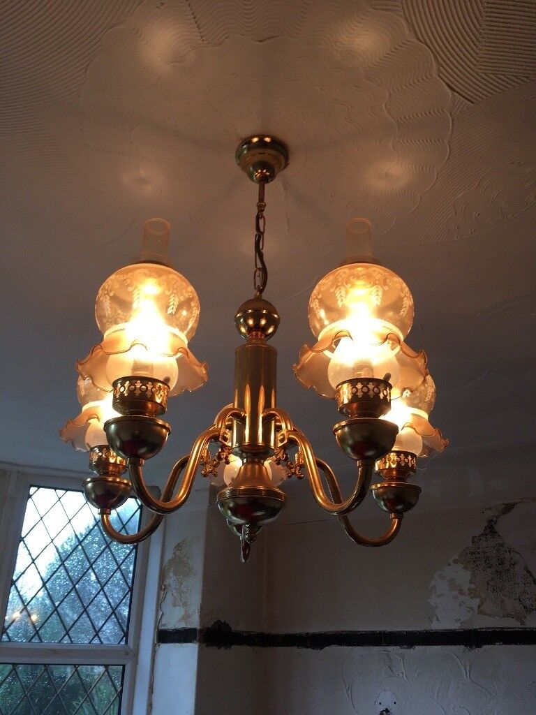 Antique brass 5 arm chandelier ceiling light with matching wall ...