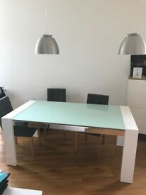 NEW white gloss dining table and 6 used chairs