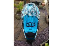 Petite star Zia 3 wheeler pushchair in sky blue.