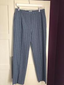 Blue & White pinstriped M&S trousers size 14