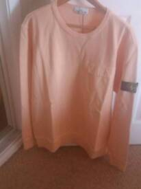 bnwt stone island garment dyed crewneck sweatshirt with pocket,in salmon,sizes 2xl and 3xl available