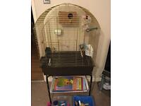 Ferplast bird cage, stand and accessories.