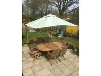 Teak Garden Furniture with 6 Seater Extending Table and Chairs with Cushions and Parasol