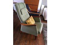 Vintage Danish Style Rocker Recliner Chair