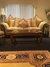 Gascoigne Designs Medici rectangle glass Gold Gilt coffee table Rrp £1,379