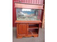 Glass Aquarium, Fluval in tank pump and Mahogany Colour Cabinet