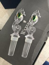 Waterford crystal seahorse bottle stopper pair