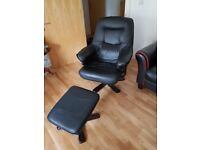 BLACK LEATHER GAMING CHAIR WITH FOOTREST