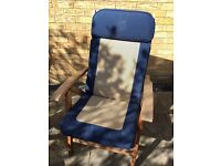 Two hard wood reclining garden chairs with washable cushions. Great condition