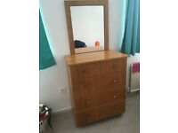Drawer with mirror (detachable), may suit any bedroom. Good quality and sturdy.