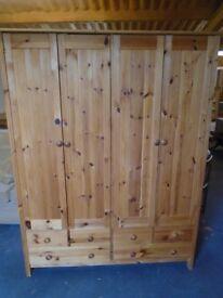 Pine 4 door wardrobe