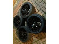 "18"" RIVA DTM CSL STYLE BLACK ALLOYS WITH TYRES E36 E46 E60 E61 E90 E92 E93 1 3 SERIES"