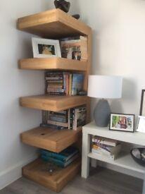 Solid oak open shelf display unit