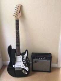 Stratocaster style electric guitar w/ 15w amp