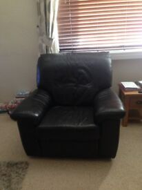Reclining Armhair -- Electric, brown leather, reclining armchair