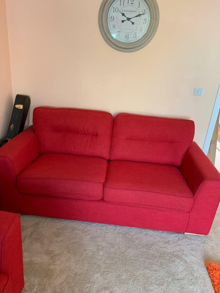 Beautiful Red Sofa and Chair. New Condition Disability Sale | in Bicester,  Oxfordshire | Gumtree