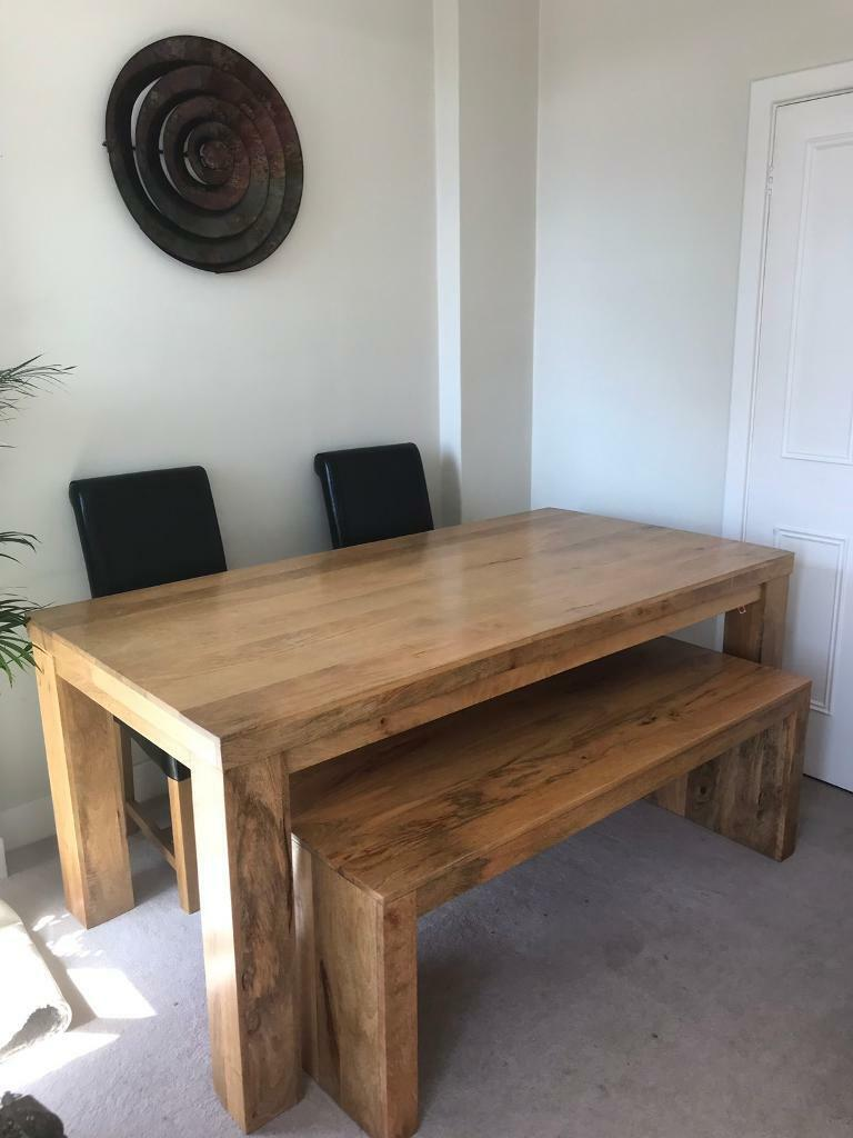 Cool Mango Wood Dining Table Bench And 2 Black Leather Chairs In Brighton East Sussex Gumtree Gmtry Best Dining Table And Chair Ideas Images Gmtryco