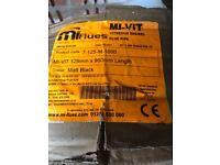 FLUE PIPE MI Matt black vitreous enamel unused & boxed 125mm x 900mm