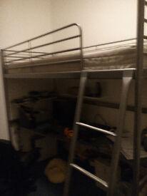 ** IKEA SVÄRTA SINGLE LOFT BED FRAME WITH SVÄRTA REMOVABLE DESK - EXCELLENT CONDITION **
