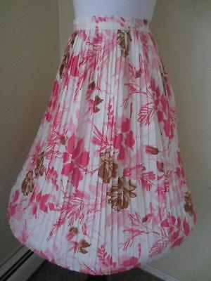 Vintage 50's Rockabilly Full Skirt Pink & Brown Cabbage Roses Pleated Crepe S