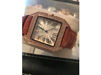 Leather Diamante Rose Watch