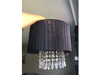 Ceiling light pendant shade in black with acrylic beads