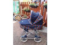 Mamas and Papas blue and red tartan pram and pushchair