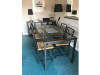 Dark grey glass top dining table & chairs