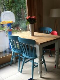 Beautiful hand painted wooden table and chairs