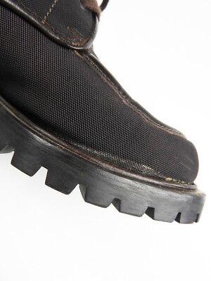 Gucci montante toile bottes cuir passepoil marron taille : us 4