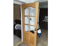 Two white oak doors
