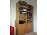 Oak Finish Bookcase with Cupboards