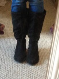 Women's black suede knee high boots size 6