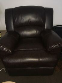 Recliner couch and 2 recliner arm chairs