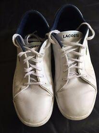 Men's white lacoste shoes size 9UK