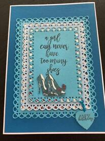 """Handmade birthday card - """"a girl can never have too many shoes"""""""