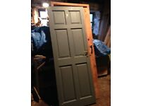 Internal pine door. Used. 197 x75cm. Painted grey on one side. Free to collector.