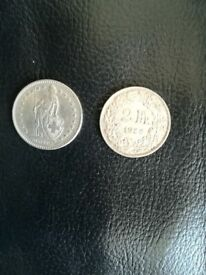 2 Franc Swiss Coin Set X2