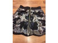 Oasis black sequinned party skirt