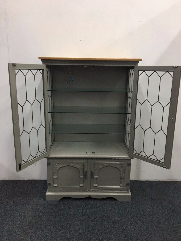 French Grey Painted Glass Fronted Cupboard