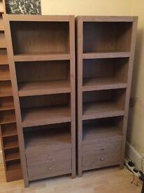 Pair of smart wooden/veneer shelves with drawers