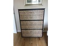 Chest of 6 drawers Black and Leopard print