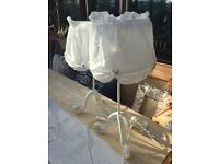 2 White bedside lamps, perfect condition. Fabric shade