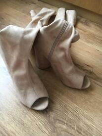 Women's Public desire beige high knee heel