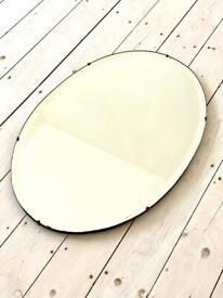 Large oval vintage antique frameless bevelled mirror Art Deco mid century