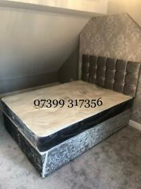 Complete Crushed Velvet Sets with Headboard & Mattress