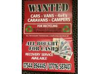 HASSLE FREE CASH FOR YOUR CARS VANS 4X4 + CAMPERVANS